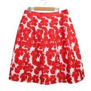 Red and white floral full skirt
